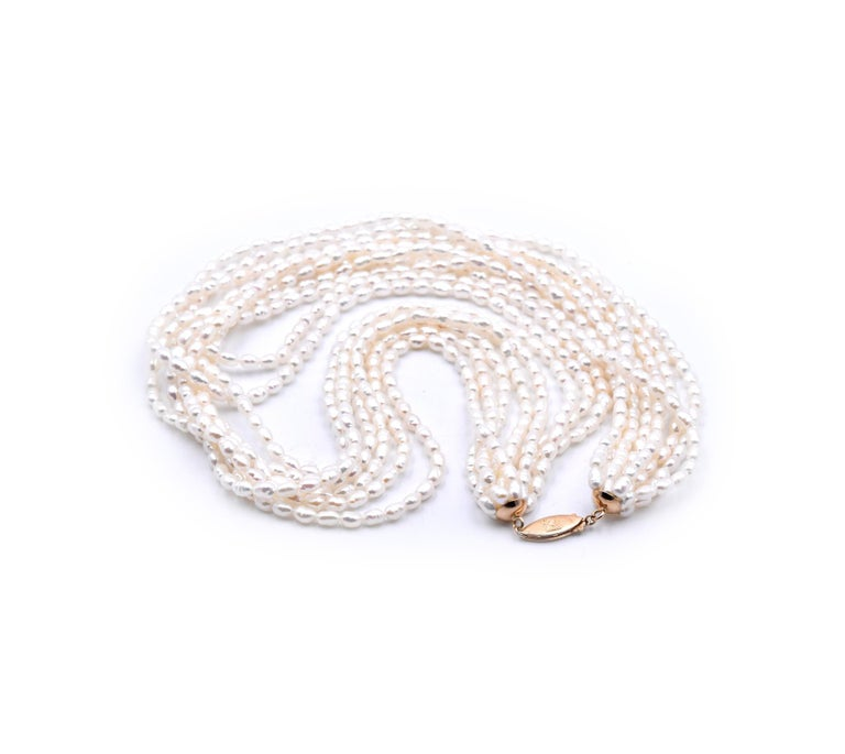 Women's or Men's 14 Karat Yellow Gold 8-Strand Pearl Strand Necklace For Sale