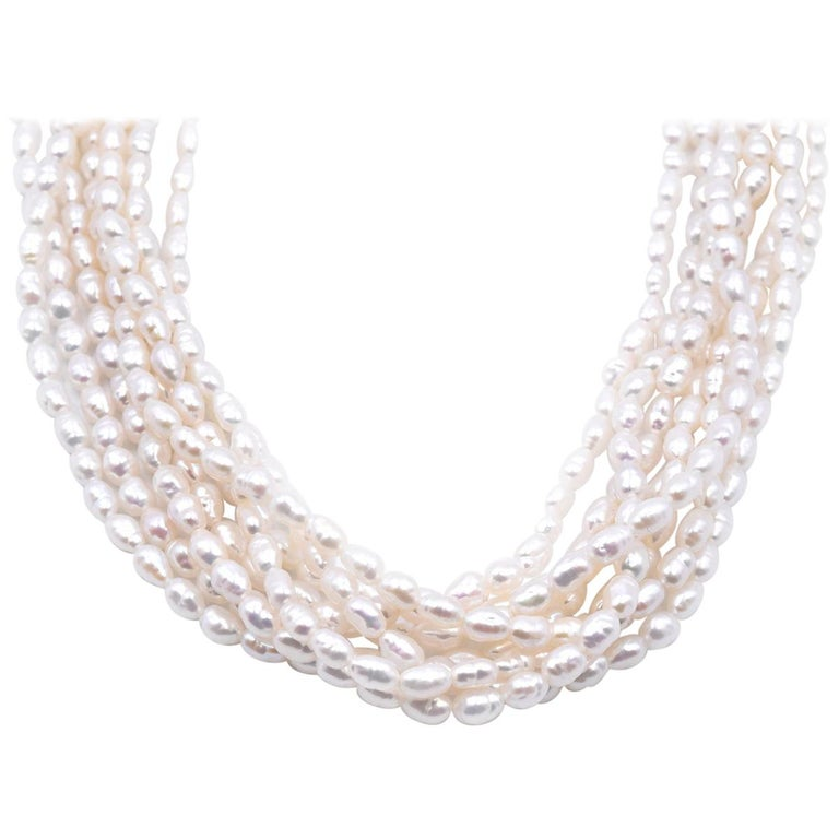 14 Karat Yellow Gold 8-Strand Pearl Strand Necklace For Sale
