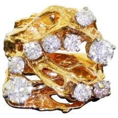 14 Karat Yellow Gold 9 Diamond 1.90 Carat Freeform Wide Cluster Ring 17.8G