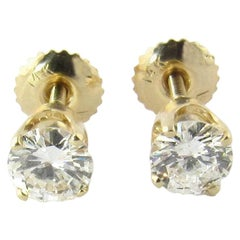 14 Karat Yellow Gold .90 Carat Diamond Stud Screwback Earrings