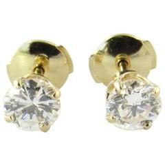 14 Karat Yellow Gold .95 Carat Diamond Stud Earrings