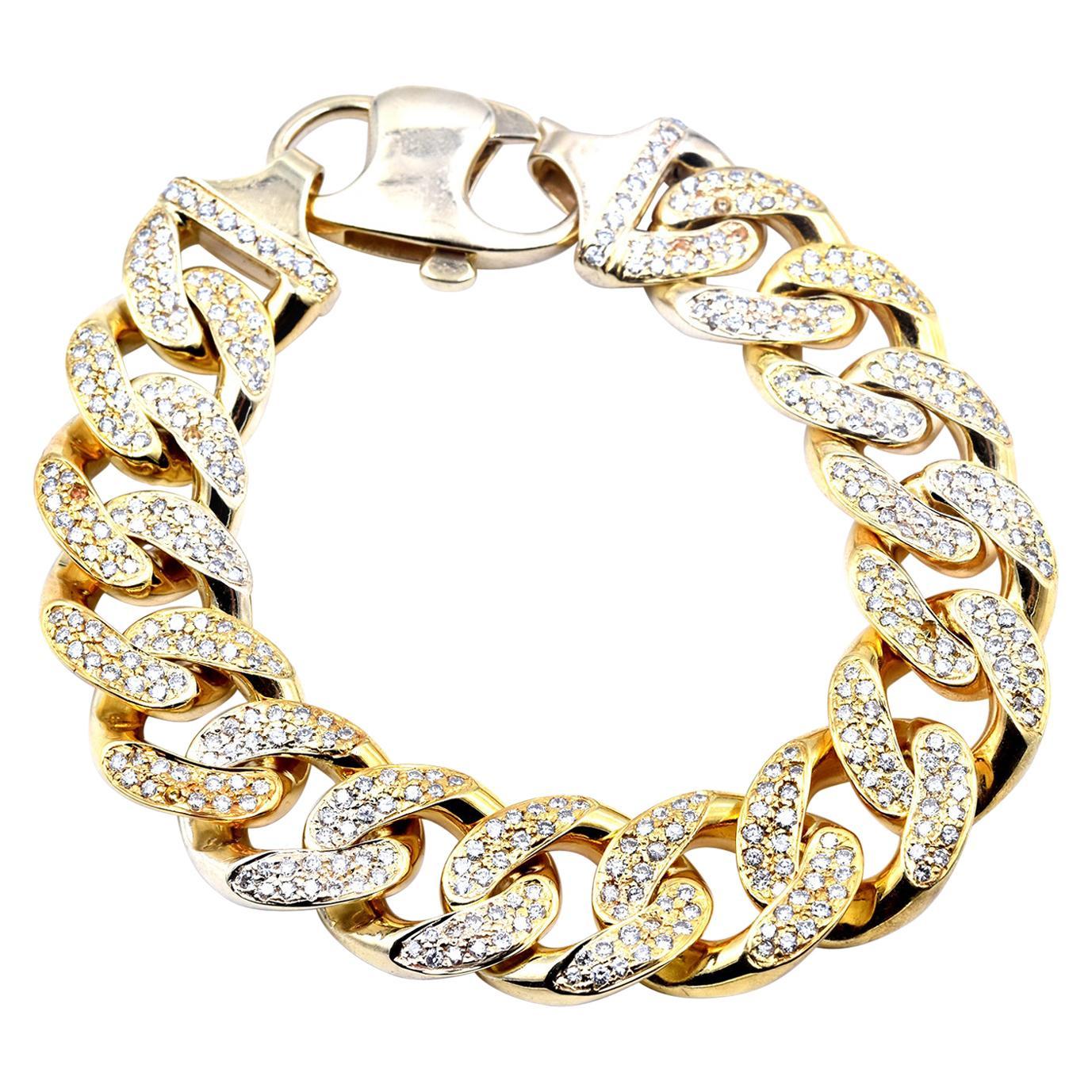 14 Karat Yellow Gold 9.80 Carat Diamond Cuban Link Bracelet