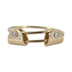 14 Karat Yellow Gold Adjustable Diamond Slide Ring