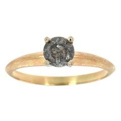14 Karat Yellow Gold Aghata Salt and Pepper Diamond Ring 'Center- 0.69 Carat'