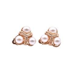 14 Karat Yellow Gold Akoya Pearl Rope Earrings
