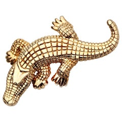 14 Karat Yellow Gold Alligator Pin