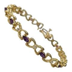 14 Karat Yellow Gold Amethyst and Diamond Bracelet