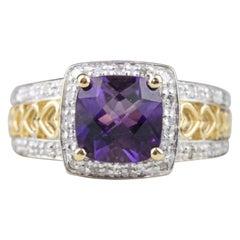14 Karat Yellow Gold Amethyst and Diamond Fashion Ring