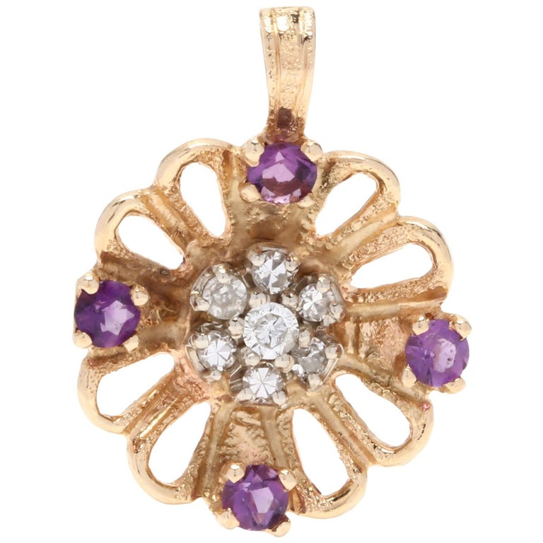 14 Karat Yellow Gold, Amethyst and Diamond Flower Charm or Pendant For Sale