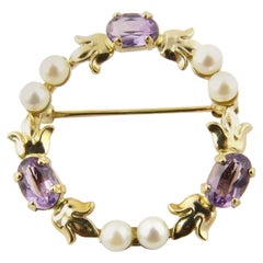 14 Karat Yellow Gold Amethyst and Pearl Pin or Brooch