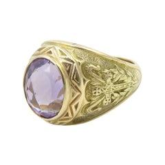 14 Karat Yellow Gold Amethyst Bishop Ring