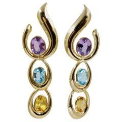 14 Karat Yellow Gold Amethyst, Blue Topaz, and Citrine Dangle Earrings