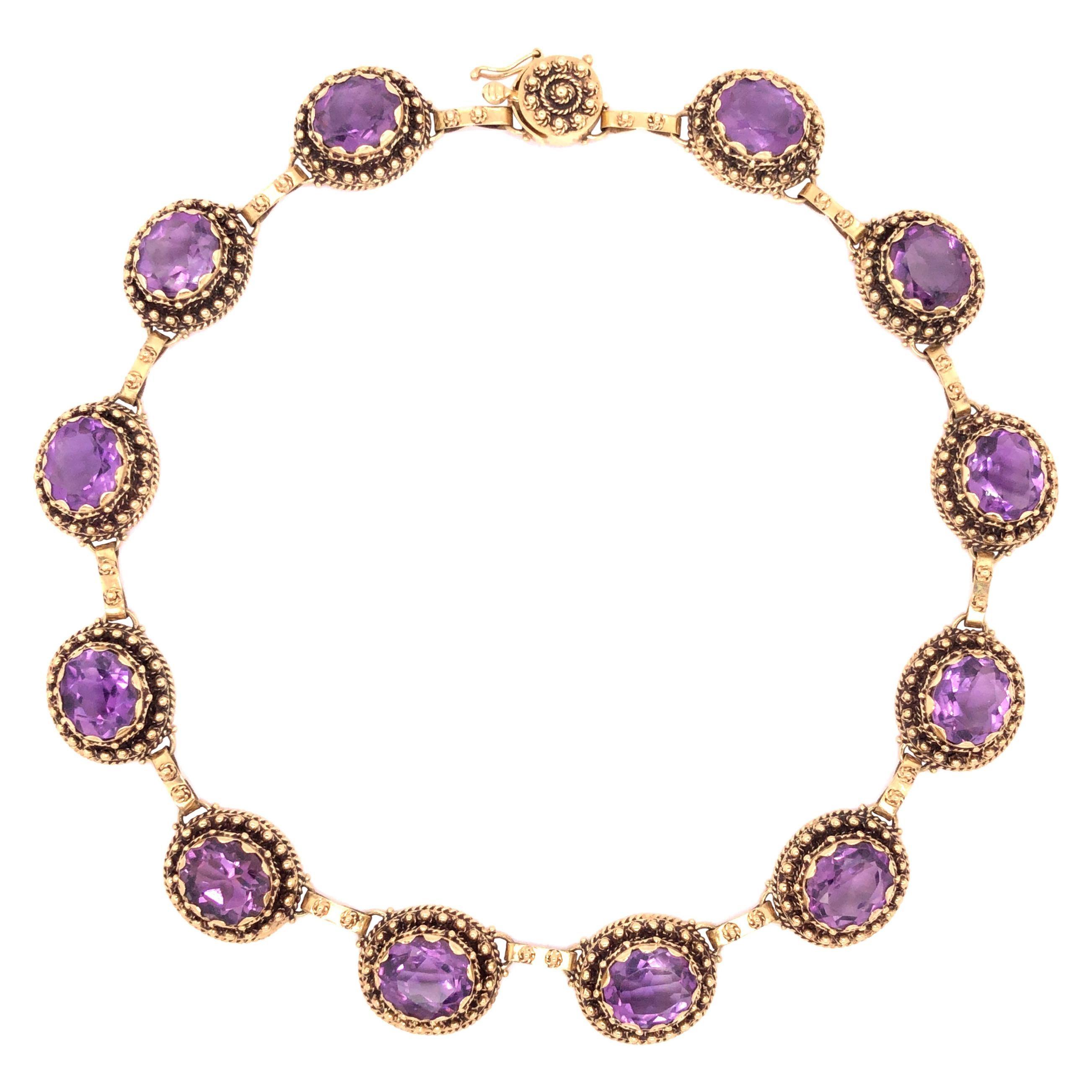 14 Karat Yellow Gold Amethyst Choker Necklace