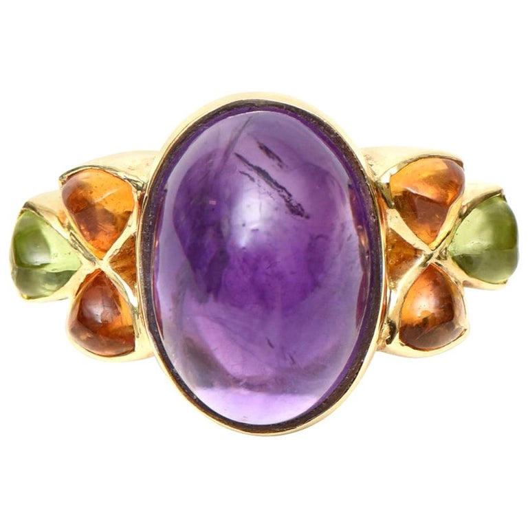 14 Karat Yellow Gold, Amethyst, Citrine and Peridot Cocktail Ring For Sale