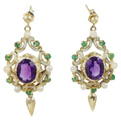 14 Karat Yellow Gold Amethyst, Emerald, and Pearl Dangle Earrings