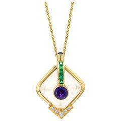 14 Karat Yellow Gold Amethyst Quartz Diamond Emerald Pendant Necklace