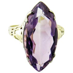 14 Karat Yellow Gold Amethyst Ring
