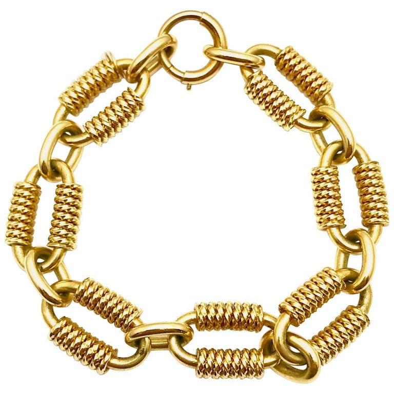 14 Karat Yellow Gold Anchor Link Bracelet For Sale At 1stdibs