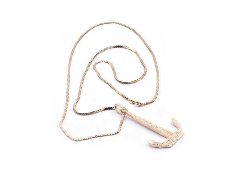Men's 14 Karat Yellow Gold Anchor Necklace For Sale