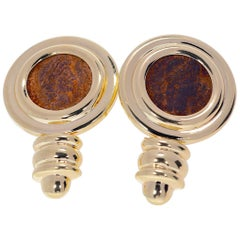 14 Karat Yellow Gold Ancient Coin Earrings 14.50 Grams