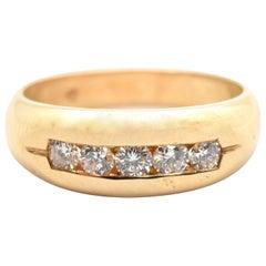 14 Karat Gelb Gold und 0,25 Karat runde Diamanten Band Ring