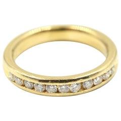 14 Karat Yellow Gold and 0.33 Carat Round Diamond Band Ring