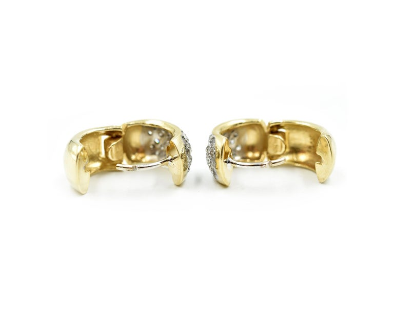Round Cut 14 Karat Yellow Gold and 0.96 Carat Round Brilliant Diamond Huggie Earrings