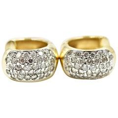 14 Karat Yellow Gold and 0.96 Carat Round Brilliant Diamond Huggie Earrings