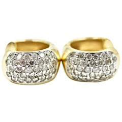 14 Karat Yellow Gold and 0.96 Carat Round Brilliant Diamond Huggie Earrings