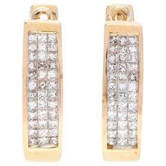 14 Karat Yellow Gold and 1 Carat Invisible Set Diamond Hoop Earrings