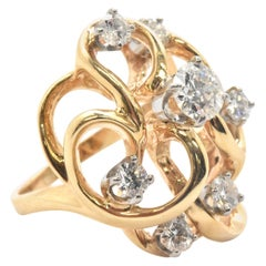 14 Karat Yellow Gold and 1.10 Carat Diamond Cluster Cocktail Ring