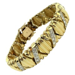 14 Karat Yellow Gold and 1.3 Carat Diamond X Link Ladies Bracelet