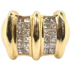 14 Karat Yellow Gold and 1.50 Carat Invisible-Set Princess Cut Diamond Ring
