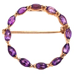 14 Karat Yellow Gold and Amethyst Circle Brooch