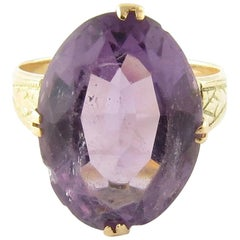 14 Karat Yellow Gold and Amethyst Ring