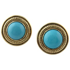 14 Karat Yellow Gold and Cabochon Turquoise Button Earrings