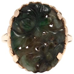 14 Karat Yellow Gold and Carved Green Jade Statement / Cocktail Ring
