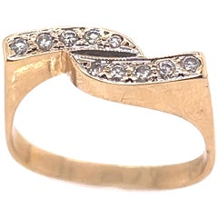 14 Karat Yellow Gold and Diamond Abstract Design Ring
