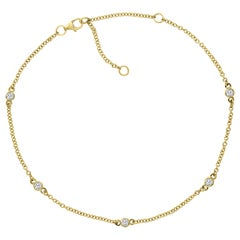14 Karat Yellow Gold and Diamond Adjustable Anklet