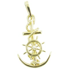 14 Karat Yellow Gold and Diamond Anchor and Ship's Wheel Pendant