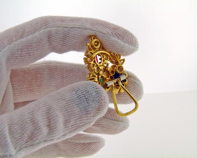 Mixed Cut Diamond Gem-Stone Gold Ear Clips
