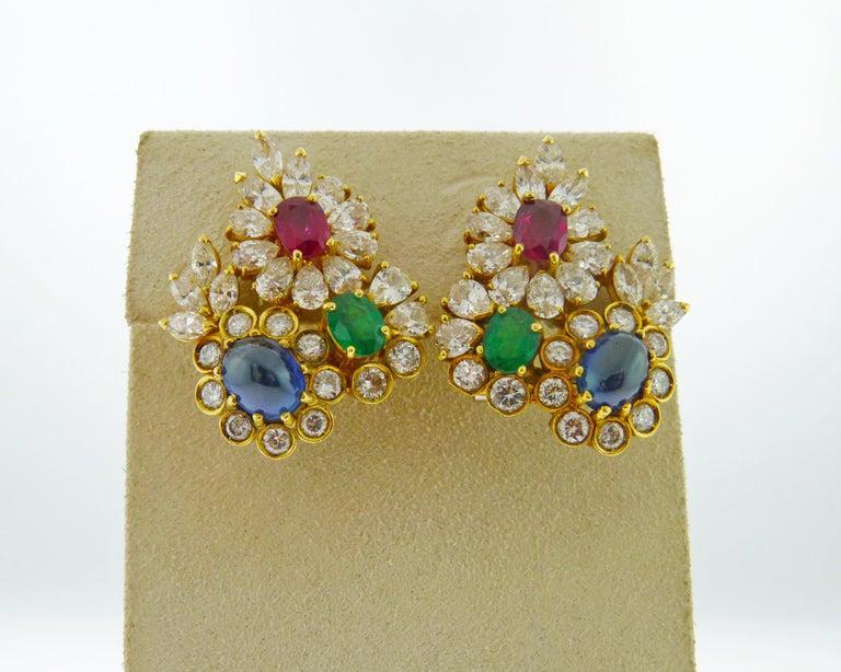 Women's Diamond Gem-Stone Gold Ear Clips