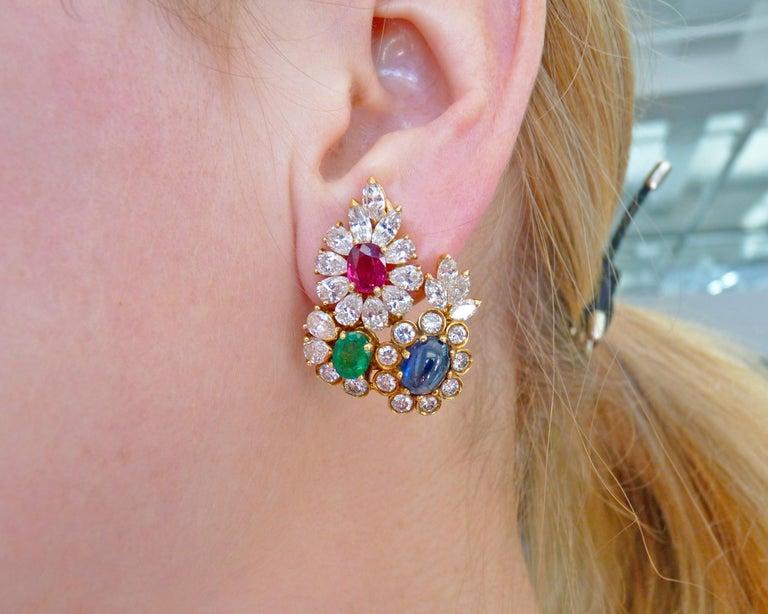 Diamond Gem-Stone Gold Ear Clips 1
