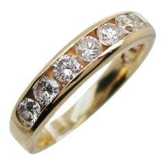 14 Karat Yellow Gold and Diamond Band Stack Ring