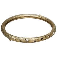 14 Karat Yellow Gold and Diamond Bark Bangle