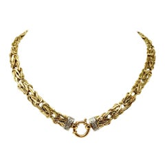 14 Karat Yellow Gold and Diamond Byzantine Link Necklace