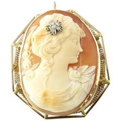 14 Karat Yellow Gold and Diamond Cameo Brooch or Pendant