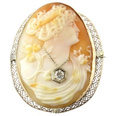 14 Karat Yellow Gold and Diamond Cameo Brooch / Pendant