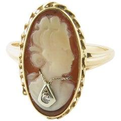 14 Karat Yellow Gold and Diamond Cameo Ring