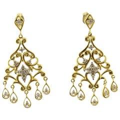 14 Karat Yellow Gold and Diamond Chandelier Earrings